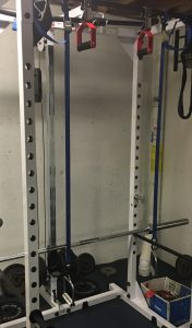 Home Made TRX suspension straps hanging from power rack