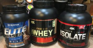 Casein, Whey and Whey Isolate Protein powders