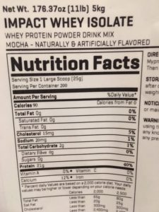 MyProtein Nutrition Label