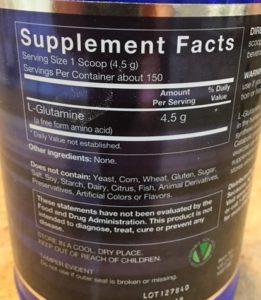 Glutamine Powder Label